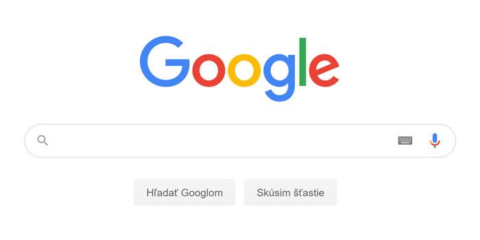 Screenshot zo stránky google.sk