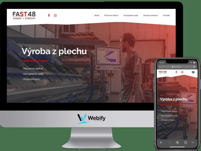 Obrazovka a mobilný telefón s načítanou webstránkou fast48.sk