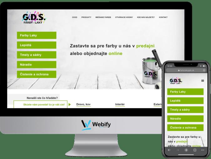 Obrazovka a mobilný telefón s načítanou webstránkou farbylakygds.sk