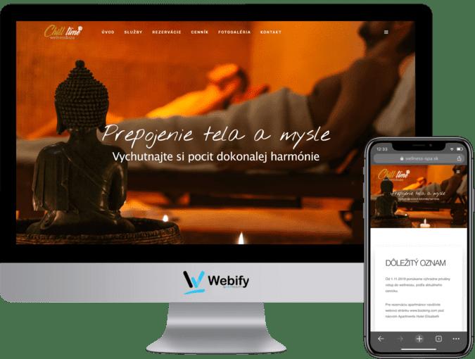 Obrazovka a mobilný telefón s načítanou webstránkou wellness-spa.sk