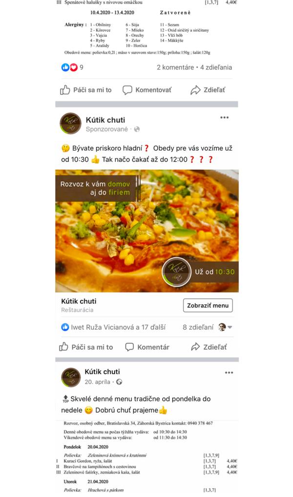 Screenshot zo smartfónu - príspevok na Facebooku