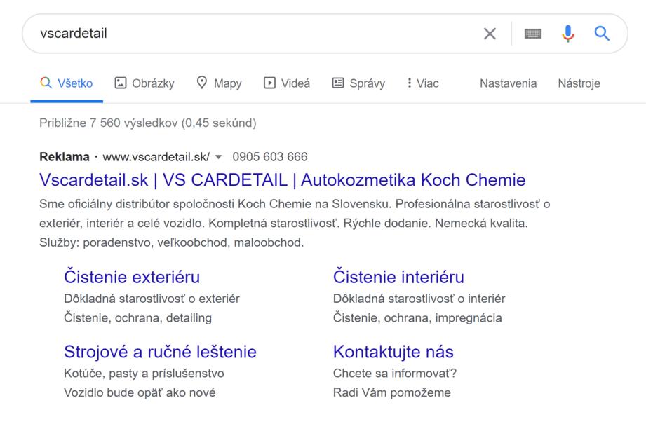 Ukážka textovej reklamy zobrazovanej vo výsledkoch Google vyhľadávania