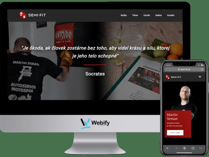 Obrazovka a mobilný telefón s načítanou webstránkou semi-fit.sk