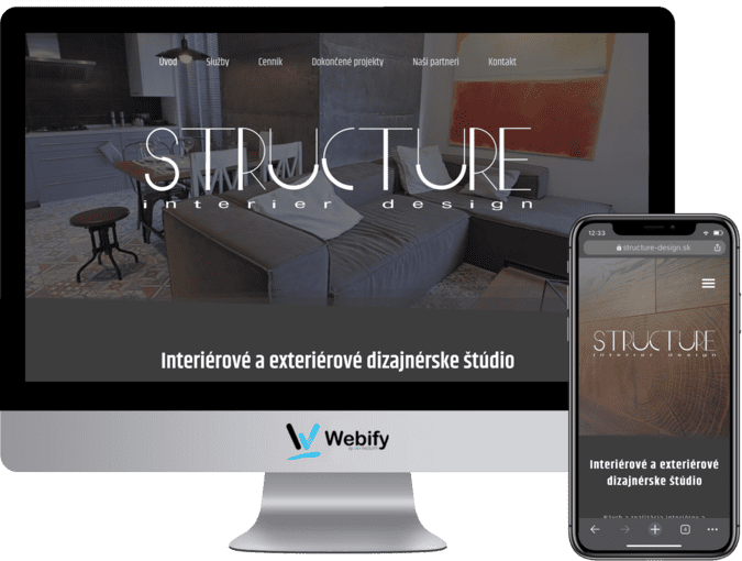 Obrazovka a mobilný telefón s načítanou webstránkou structure-design.sk